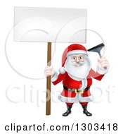 Clipart Of A Happy Christmas Santa Claus Window Washer Holding A Blank Sign And Squeegee Royalty Free Vector Illustration