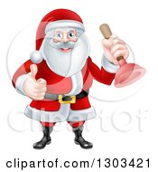 Clipart Of A Happy Christmas Santa Claus Plumber Holding A Plunger And Giving A Thumb Up Royalty Free Vector Illustration