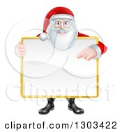 Clipart Of A Happy Christmas Santa Claus Holding And Pointing To A Blank Sign Royalty Free Vector Illustration