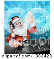 Clipart Of A Santa Claus Dj Mixing Christmas Music On A Turntable With People Dancing In The Background Royalty Free Vector Illustration