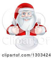 Clipart Of A Happy Christmas Santa Claus Sitting With A Clean Plate And Holding Silverware Royalty Free Vector Illustration by AtStockIllustration