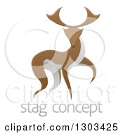Clipart Of A Walking Brown And White Stag Deer Buck Over Sample Text Royalty Free Vector Illustration