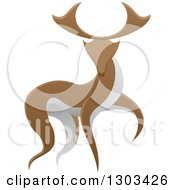 Clipart Of A Walking Brown And White Stag Deer Buck Royalty Free Vector Illustration by AtStockIllustration