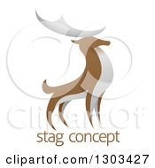 Clipart Of A Standing Brown And White Stag Deer Buck Over Sample Text Royalty Free Vector Illustration
