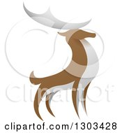 Clipart Of A Standing Brown And White Stag Deer Buck Royalty Free Vector Illustration