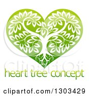 Clipart Of A Tree With Roots And Leafy Branches Inside A Gradient Green Heart Over Sample Text Royalty Free Vector Illustration