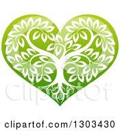 Tree With Roots And Leafy Branches Inside A Gradient Green Heart