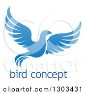 Clipart Of A Flying Blue Bird Over Sample Text Royalty Free Vector Illustration by AtStockIllustration