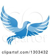 Clipart Of A Flying Blue Bird Royalty Free Vector Illustration by AtStockIllustration