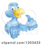 Clipart Of A Happy Blue Bird Character Giving A Thumb Up Royalty Free Vector Illustration by AtStockIllustration
