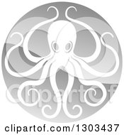 Clipart Of A Shiny Silver Round Octopus Logo Royalty Free Vector Illustration by AtStockIllustration
