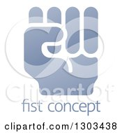 Clipart Of A Shiny Gradient Fisted Hand Over Sample Text Royalty Free Vector Illustration