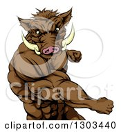 Clipart Of A Muscular Fighting Boar Man Punching Royalty Free Vector Illustration by AtStockIllustration
