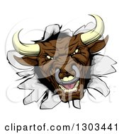 Clipart Of A Mad Aggressive Brown Bull Breaking Through A Wall Royalty Free Vector Illustration