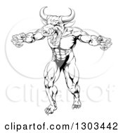 Clipart Of A Black And White Snarling Bull Man Minotaur Monster Mascot Attacking Royalty Free Vector Illustration