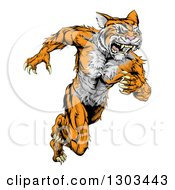 Clipart Of A Fierce Roaring Muscular Running Tiger Man Mascot Royalty Free Vector Illustration by AtStockIllustration