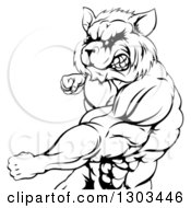 Clipart Of A Black And White Muscular Raccoon Man Mascot Punching From The Hips Up Royalty Free Vector Illustration by AtStockIllustration