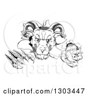 Clipart Of A Black And White Vicious Ram Monster Clawing Through A Wall Royalty Free Vector Illustration