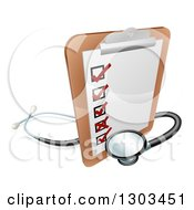 Clipart Of A 3d Checklist On A Clip Board With A Stethoscope Royalty Free Vector Illustration by AtStockIllustration