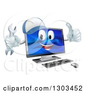 Happy Computer Mascot Wearing A Baseball Cap Holding A Wrench And Giving A Thumb Up