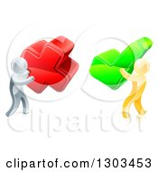 Clipart Of 3d Right And Wrong Silver And Gold Men Carrying X And Check Marks Royalty Free Vector Illustration