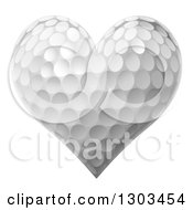 Clipart Of A Golf Ball In The Shape Of A Heart Royalty Free Vector Illustration by AtStockIllustration