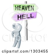Clipart Of A 3d Silver Man Looking Up At Heaven Or Hell Cross Roads Signs Royalty Free Vector Illustration by AtStockIllustration