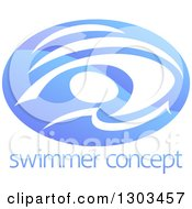 Clipart Of A Shiny Gradient Blue Abstract Swimmer Doing The Butterfly In Waves Over Sample Text Royalty Free Vector Illustration by AtStockIllustration