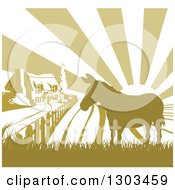 Clipart Of A Cottage Farm House And Rolling Hills With A Silhouetted Donkey And Sun Rays In Green And White Royalty Free Vector Illustration by AtStockIllustration