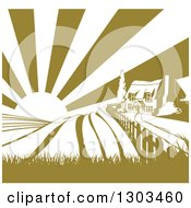 Clipart Of A Cottage Farm House On A Hill With The Sunrise And Fields In Green And White Royalty Free Vector Illustration