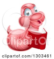 Clipart Of A Pink Earthworm Holding A Book Royalty Free Vector Illustration