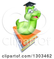 Clipart Of A Happy Green Professor Earthworm On A Stack Of Books Royalty Free Vector Illustration