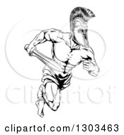 Clipart Of A Black And White Gladiator Man In A Helmet Sprinting With A Sword Royalty Free Vector Illustration