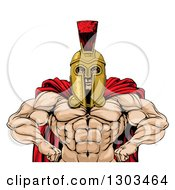 Clipart Of A Muscular Spartan Warrior With A Bare Chest And Hands On His Hips Royalty Free Vector Illustration