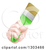 Clipart Of A Caucasian Hand Holding A Lime Green Paint Brush Royalty Free Vector Illustration by AtStockIllustration