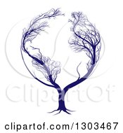 Clipart Of A Blue Globe Tree With Bare Branches Forming The Continents Of Earth Royalty Free Vector Illustration