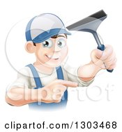 Clipart Of A Happy Young Brunette Caucasian Window Cleaner Man Holding A Squeegee And Pointing Royalty Free Vector Illustration by AtStockIllustration