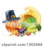 Clipart Of A Pilgrim Hat On A Pumpkin By A Thanksgiving Horn Of Plenty Cornucopia And Vegetables Royalty Free Vector Illustration by AtStockIllustration