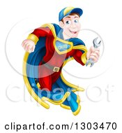 Poster, Art Print Of Happy Young White Male Super Hero Mechanic Running With A Wrench