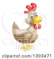 Clipart Of A Happy Brown Chicken Or Rooster Royalty Free Vector Illustration