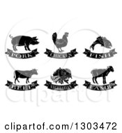Black And White Pork Chicken Fish Beef Vegetarian And Lamb Food Designs