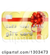 Clipart Of A Golden Gift Card With A Bow Design Royalty Free Vector Illustration