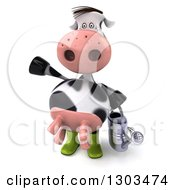 Clipart Of A 3d Gardener Cow Holding A Watering Can And Waving Royalty Free Illustration