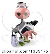 Clipart Of A 3d Gardener Cow Holding A Watering Can And Pointing To The Right Royalty Free Illustration