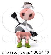Clipart Of A 3d Gardener Cow Waving Royalty Free Illustration