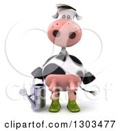 Clipart Of A 3d Gardener Cow Holding A Watering Can Royalty Free Illustration
