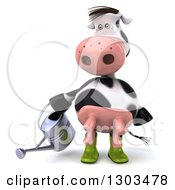Clipart Of A 3d Gardener Cow Using A Watering Can Royalty Free Illustration