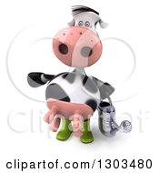Clipart Of A 3d Gardener Cow Holding A Watering Can And Presenting To The Left Royalty Free Illustration