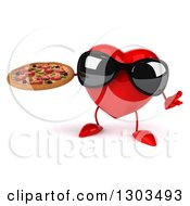 Clipart Of A 3d Heart Character Wearing Sunglasses Shrugging And Holding A Pizza Royalty Free Illustration