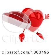 Clipart Of A 3d Heart Character Facing Right Jumping And Holding A Beef Steak Royalty Free Illustration